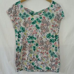 Lauren Conrad Top Floral Stretch Loose Fit Bow MED